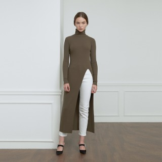 Ribbed Slit Knit - Khaki