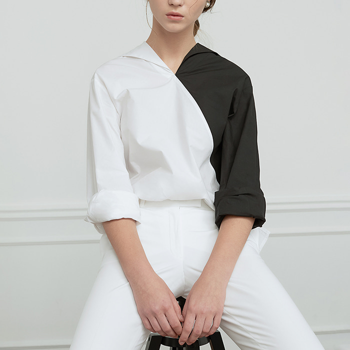Color Block Back Ribbon Shirt