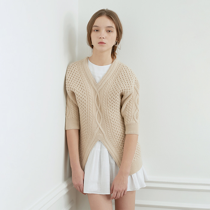 Fisherman Cable Knit Sweater - Beige